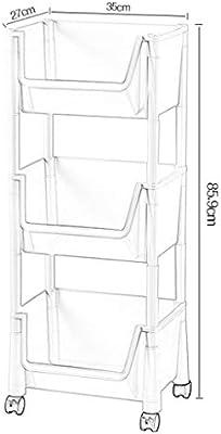 Empuje Estante De Almacenamiento Pie Esquina Rueda Estrecha Estantería De Servicio Capas Móviles Caja De Ranura De Costura De Carrito Auxiliar Con Ruedas De Plástico Estantes De Cubo Unidades Gabinete: Amazon.es: Hogar