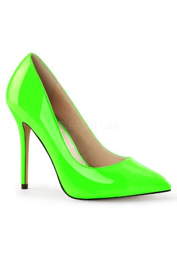 Pleaser Women's Amu20/Ngn Platform Pump, Neon Green Patent, 10 M - Footwear Green Neon