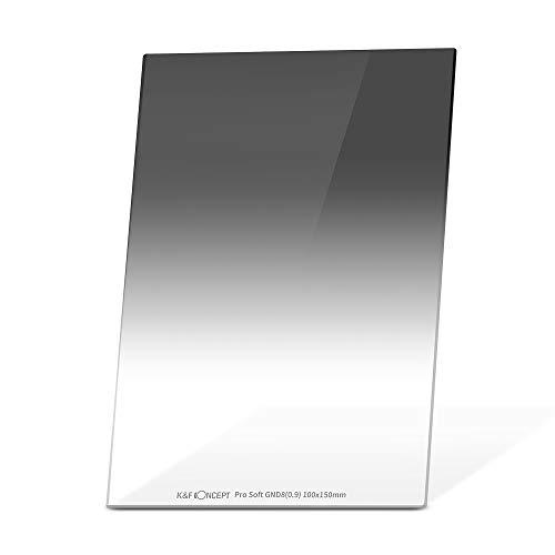 K&F Concept Filtro Graduado Suave GND8(0,9) 100x150x2.0mm MRC Vidrio HD de Aleman con Funda de Cuero para Cokin Z Holder