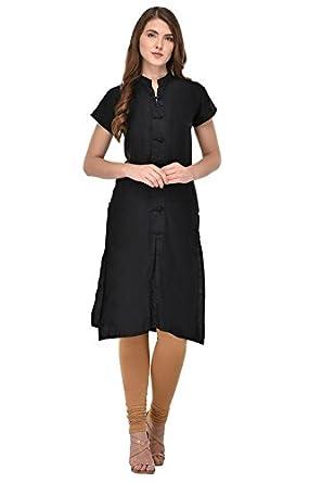 2301fa416f8 VK Traders Stylish Jam Silk Cotton Kurti for Girls - Casual Kurti for Women  - Black  Amazon.in  Clothing   Accessories