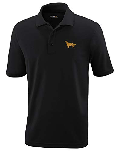 Polo Performance Shirt Golden Retriever Dog B Embroidery Design Polyester Golf Shirt for Men Black X Large Design Only