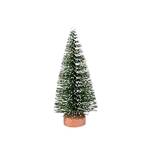 MomeChristmas Ornaments 1PC Christmas Tree Mini Pine Tree with Wood Base DIY Crafts Home Table Top Decor Christmas Winter Wonderland Decorations Ornaments Party Supplies (B)