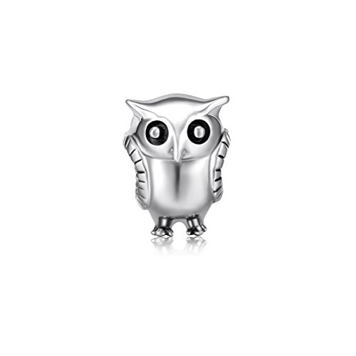 i'ange's Owl Shaped Design Bead Charms, 925 Sterling Silver Dangle Charms for Bracelets Autumn Fairy