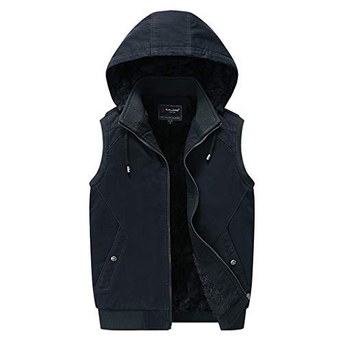 Lakes Park Halloween Train 2019 (FEDULK Mens Hooded Waistcoat Winter Warm Furring Thickening Sleeveless Casual Tank Vest(Black, Medium)(Black,)