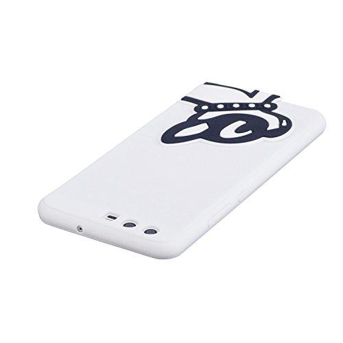 Funda Huawei P10,SainCat Moda Alta Calidad Scrub Ultra Slim Gel suave TPU Silicona Suave Funda Carcasa Caso Parachoques Carcasas 3D Tridimensional Kawaii Case con Lindo Cartoon Alivio Muñecas TPU Sili Perro blanco y negro