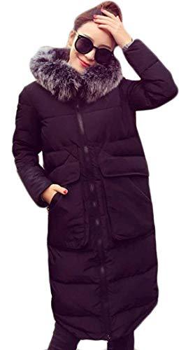 Pelliccia Schwarz Caldo Cappuccio Semplice Lunga Moda Casual Eleganti Giacca Con Donna Manica Cappotti Outdoor In Glamorous Coat Addensare Giaccone Invernali 8xnwnHa