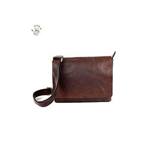 Unisex Schultertasche Aus Pflanzlich Gegerbtem Leder Farbe Dunkelbraun - Italienische Lederwaren - Prestige Linie