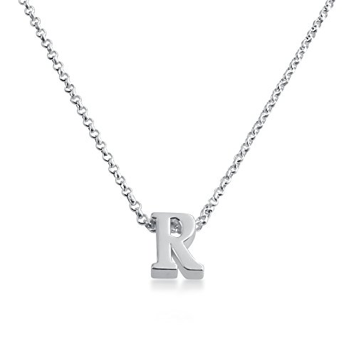 Initial Letter R Personalized Serif Font Pendant Necklace 14k Plated or 925 Sterling Silver (sterling-silver, 16 Inches)