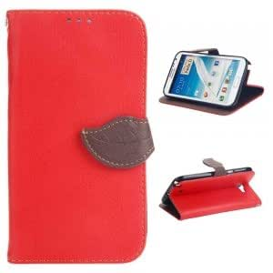 Litchi Pattern PU Leather Protective Case with Leaf-shaped Buckle for Samsung Note2 N7100 Red