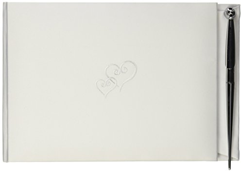 Darice VL105GB Embroidered Double Heart Wedding Guest Registration Book with Pen, White -