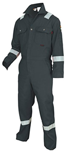 MCR Safety DC1RG46 Deluxe Contractor Flame Resistant (FR) Coveralls with Reflective Tape, Gray, Size 46, Chest 46-Inch, Waist 40-Inch, Inseam 30-Inch (Fr Coverall Contractor 46)