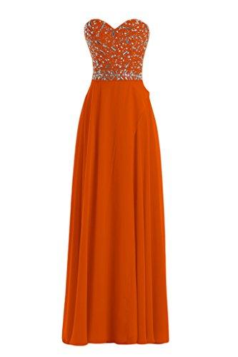 alla extra ball un'ampia giovane a la cuore moda a lungo sposa Strass Orange di sposa Chiffon sera Toscana forma vestimento lungo Party C5w4a