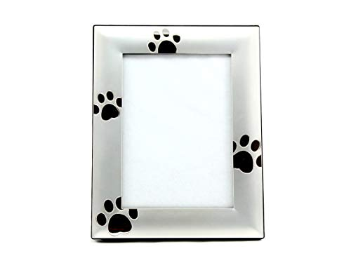 Skyway Puppy Dog Paw Print Pet Photo Picture Frame Silver - 5 x 7 (Frame Dog Picture Metal)