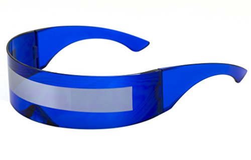 Futuristic Shield Sunglasses Space Alien Costume Party Cyclops Colored Mirror Mono Lens Wrap Sunglasses 140mm (Blue-Silver Mirror, 140)
