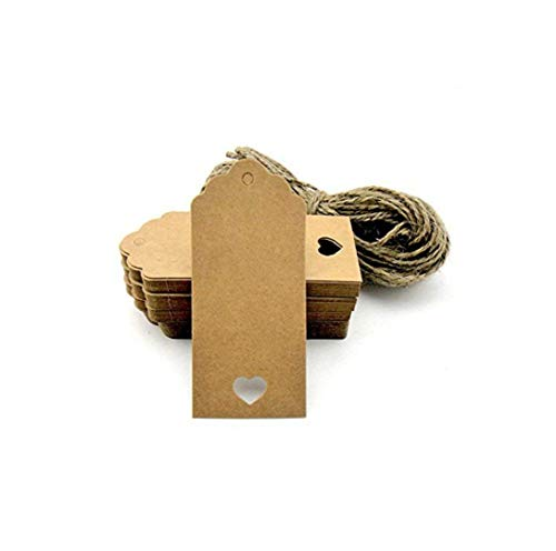 LANYUER 100pcs Gift Tags/Kraft Hang Tags with Free Cut Strings for Gifts Crafts and Price Tags Scalloped Tag Style Color Rectangular with Heart+20m Jute Twine