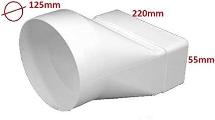 Pieza de transición larga 220 x 55 mm/Ø 125 mm, canal plano redondo, 220 x 55 mm, canal de salida de aire: Amazon.es: Bricolaje y herramientas