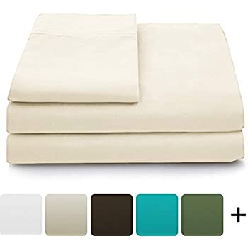 Cosy House Collection Luxury Bamboo Bed Sheet Set - Hypoallergenic Bedding Blend from Natural Bamboo Fiber - Resists Wrinkles - 4 Piece - 1 Fitted Sheet, 1 Flat, 2 Pillowcases - Queen, Cream