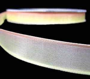 3 Yds Pastel Yellow Peach Ombre Gradient Variegated Wired Ribbon 5/8