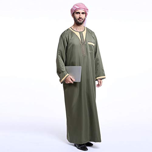 Men Saudi Thobe Galabeya Thoub Abaya Robe Dishdasha Arabic Muslim Dress, Men's Muslim Solid White Business Saudi Arabic Thobe