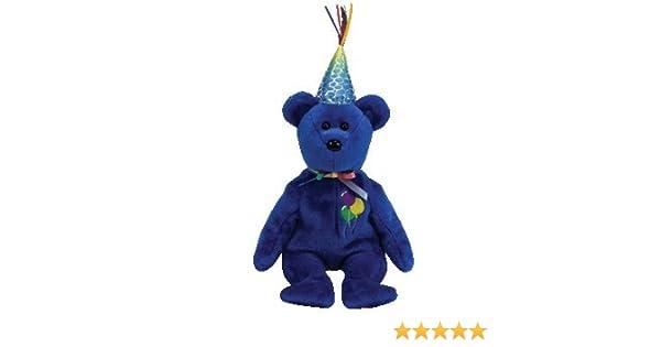 88fccb4f58a Amazon.com  Ty Beanie Babies Happy Birthday - Happy Birthday Bear (Blue)   Toys   Games