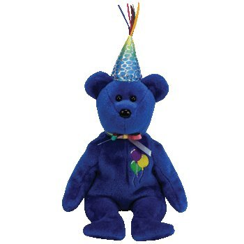 Birthday Bear Beanie - TY Beanie Babies Happy Birthday   - Happy Birthday Bear (Blue)