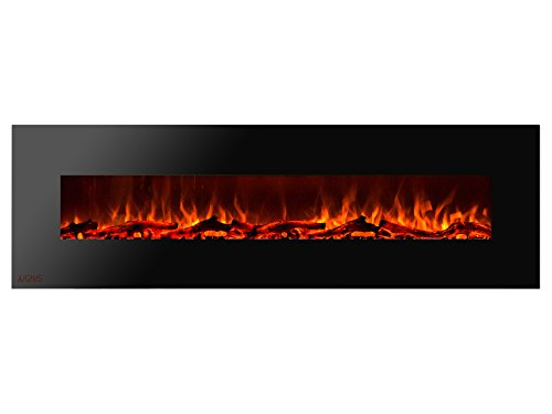 Ignis Royal 72 inch Wall Mount Electric Fireplace with Logs c SA us Certified (Could be recessed with no heat)
