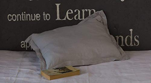 Stone Grey Linen Pillow Sham with Flanges - Oxford Style - Queen Size 20'' X 30