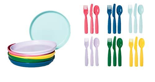 Pillowfort Kid's Round Plastic Dinner Plates and Plastic Silverware