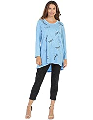 Jess & Jane Womens Mineral Washed Cotton High Low A-Line Tunic Top