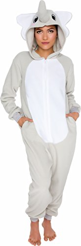 Silver Lilly Slim Fit Animal Pajamas - Adult One Piece Cosplay Elephant Costume by (Grey, Medium)