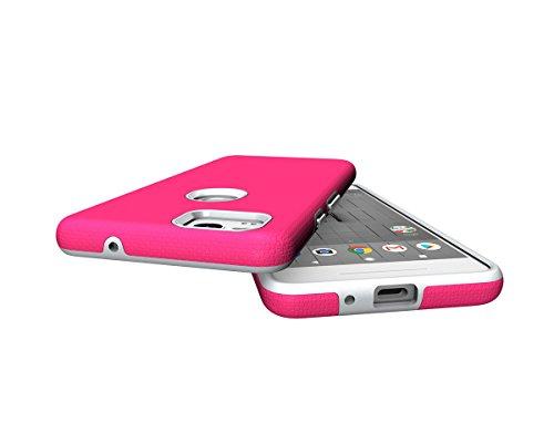 CarcasaGoogle Pixel 2, LifeePro Funda de la Caja del Teléfono a Prueba de Golpes TPU + PC Armadura Combinada híbrida Caso de Alto Impacto Durable Phone Defender (Negro) Rosa Caliente