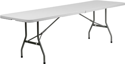 Metal Plastic Folding Table (30''W x 96''L Bi-Fold Granite White Plastic Folding)