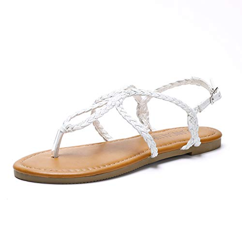 SANDALUP Women's Braided Strap Thong Flat Sandals White 05.5