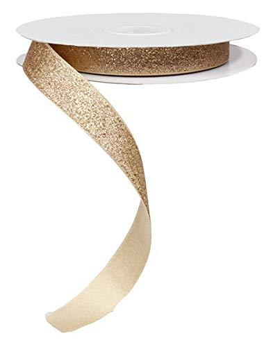 Glitter on Satin Ribbon, No Wire - 5/8