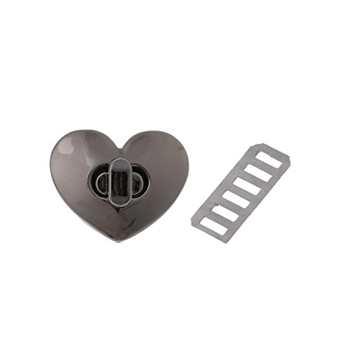 Mukoo 1PC DIY Heart Shape Clasp Turn Lock Twist Lock for DIY Handbag Shoulder Bag Purse (Gun Black)