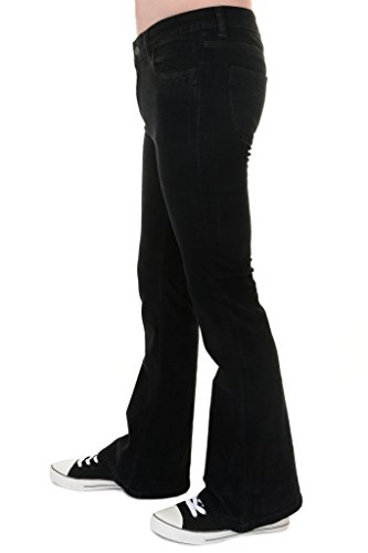 Run & Fly Mens 70s Retro Vintage Black Stretch Corduroy Bell Bottom Flares 32 - Mens 1970s Fashion