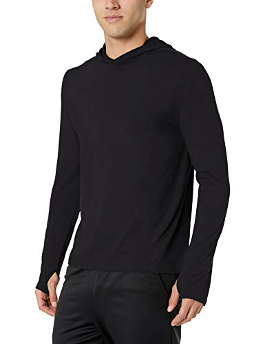 (Amazon Essentials Men's Tech Stretch Long-Sleeve Performance Pullover Hoodie, Black,)