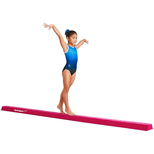 Springee Balance Beam - 9.5' Extra Long, Folding Gymnastic Equipment for Girls, Boys, Toddlers, Teens - Increase Confidence and Skill in Your Kids - Extra Firm (Pink)