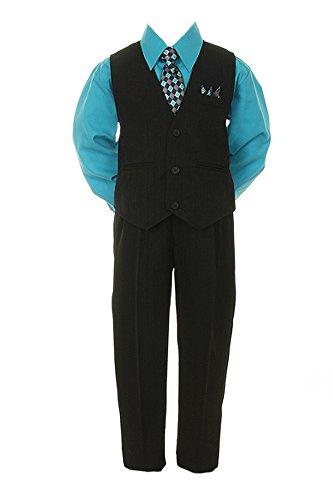 Boys Black Pinstripe Vest Suit with Turquoise Shirt size 18 Blue Pinstripe Tuxedo