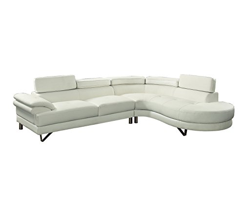 Poundex F6984 Bobkona Isidro Faux Leather sectional