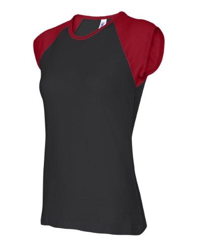 Bella+Canvas Ladies' Baby Rib Cap-Sleeve Contrast Raglan Tee - Black/ Red - XL