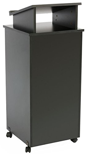 (Displays2go Rolling Wood Podium, 44 Inch H, Locking Wheels, 2 Shelf Open Cabinet, Top Surface with Lip, Black (LCTTBLRLSB))