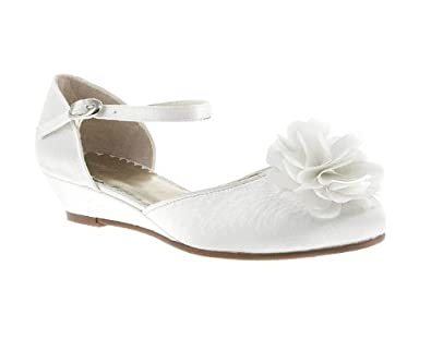 Barratts Girls Ivory Flower Low Wedge Sandals Size 1 ...