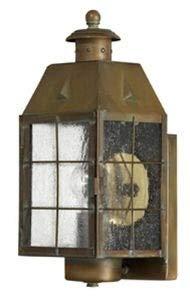 (Hinkley 2370AS Nantucket Brass Outdoor Lantern Fixture, Aged Brass - Clear Seedy Glass Panels)