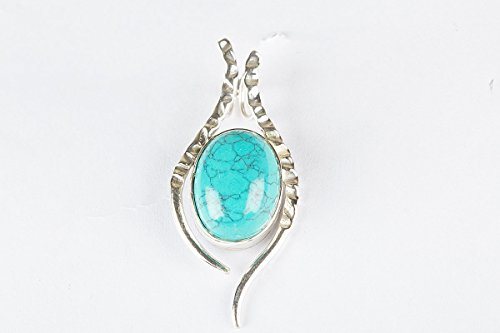 (Blue Turquoise Pendant 925 Sterling Silver Gemstone Locket For Unisex jewelry Brhtdhy Gift Oval Shape Classic Vintage Art and Deco Delicate Beautiful Amazing Collection)