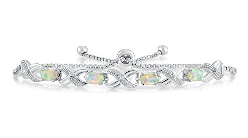 - Sterling Silver Simulated Oval Opal Forever Infinity Adjustable Bracelet
