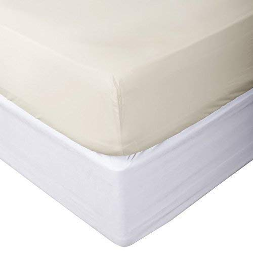 ARlinen Fitted Sheets Fit Mattress up to 15 Inch Deep Pocket-Premium Quality 600 Thread Count Bottom Sheets Ultra-Soft Cotton Fitted Sheet Queen Size Solid Ivory