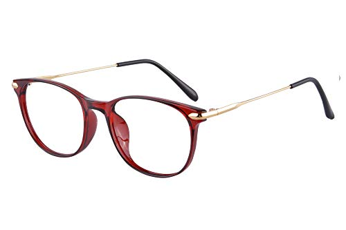 SHINU Oval Women's Anti Blue Ray Progressive Multi Focus Reading Glasses Replaceable Frame-MATT6511(C4,anti blue up+0.00,down+2.00)
