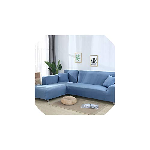 Sofa coverGrey Color Elastic Couch Sofa Cover Loveseat Cover Sofa Covers for Living Room Sectional Sofa Slipcover Armchair Furniture Cover,Light Blue,2seater and 2seater