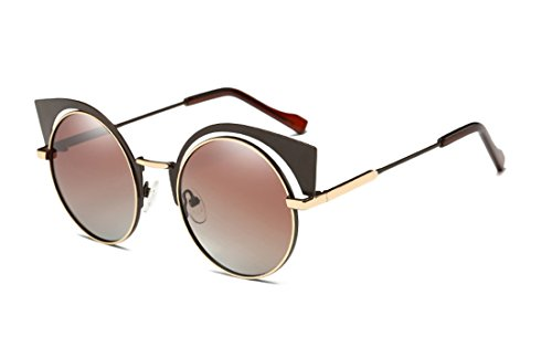 GAMT Retro Polarized Cat Eye Round Metal Sunglasses Hollow-Out Design for Women Tea Frame Double - Bulk Personalized Sunglasses